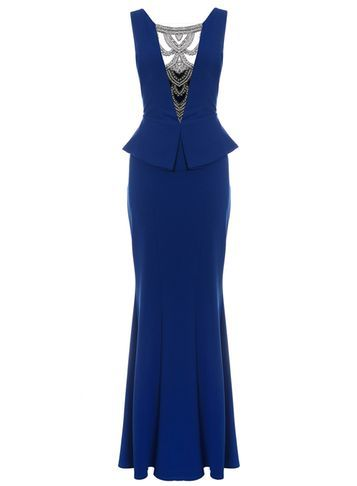 Womens **Quiz Diamante Fishtail Maxi Dress Blue - neckline: round neck; fit: tailored/fitted; pattern: plain; sleeve style: sleeveless; style: maxi dress; predominant colour: royal blue; secondary colour: silver; length: floor length; fibres: polyester/polyamide - 100%; occasions: occasion; sleeve length: sleeveless; texture group: crepes; pattern type: fabric; embellishment: lace; season: s/s 2016; wardrobe: event