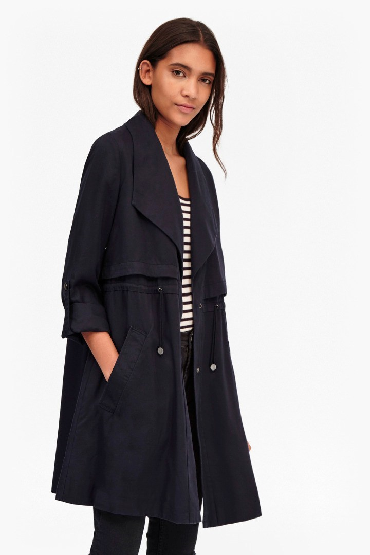 Kruger Tencel Short Trench Coat Utility Blue - pattern: plain; style: parka; collar: standard lapel/rever collar; length: mid thigh; predominant colour: navy; occasions: casual, creative work; fit: straight cut (boxy); fibres: wool - mix; sleeve length: long sleeve; sleeve style: standard; collar break: medium; pattern type: fabric; texture group: woven bulky/heavy; season: s/s 2016; wardrobe: basic