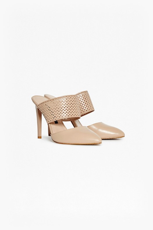 Mollie Stiletto Laser Cut Mules Almost Nude - predominant colour: blush; occasions: evening; material: leather; heel height: high; heel: stiletto; toe: pointed toe; style: mules; finish: plain; pattern: plain; season: s/s 2016; wardrobe: event