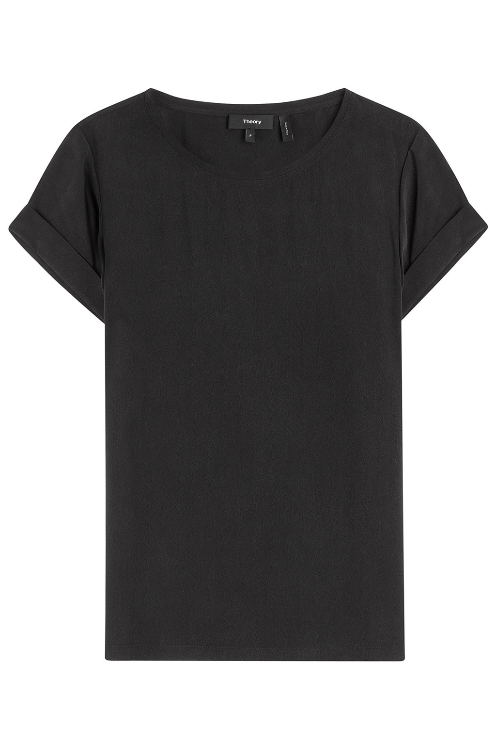 Silk Top - neckline: round neck; pattern: plain; style: t-shirt; predominant colour: black; occasions: casual, work, creative work; length: standard; fibres: silk - 100%; fit: straight cut; sleeve length: short sleeve; sleeve style: standard; texture group: silky - light; pattern type: fabric; season: s/s 2016; wardrobe: basic