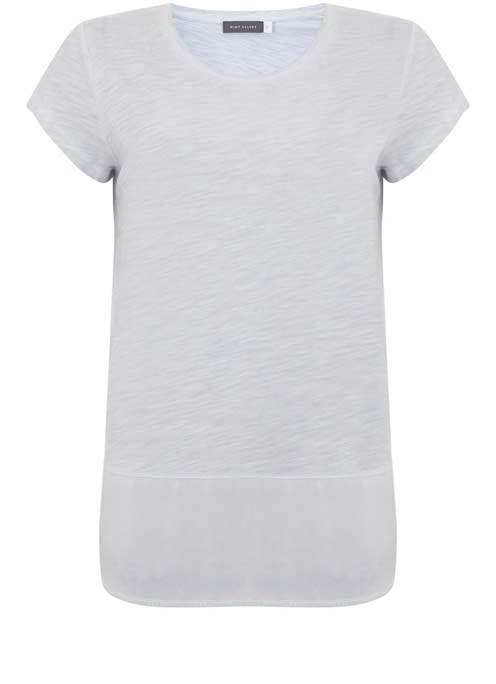 China Blue Woven Hem Tee - neckline: round neck; pattern: plain; length: below the bottom; style: t-shirt; predominant colour: light grey; occasions: casual, creative work; fibres: cotton - mix; fit: body skimming; sleeve length: short sleeve; sleeve style: standard; pattern type: fabric; texture group: jersey - stretchy/drapey; season: s/s 2016; wardrobe: basic