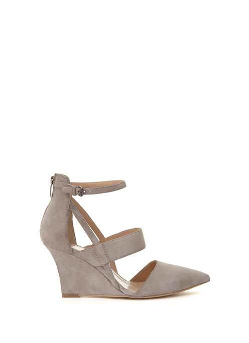 Mink Brooke Multi Strap Wedge - predominant colour: taupe; occasions: evening, creative work; material: suede; heel height: high; ankle detail: ankle strap; heel: wedge; toe: pointed toe; style: courts; finish: plain; pattern: plain; season: s/s 2016; wardrobe: investment