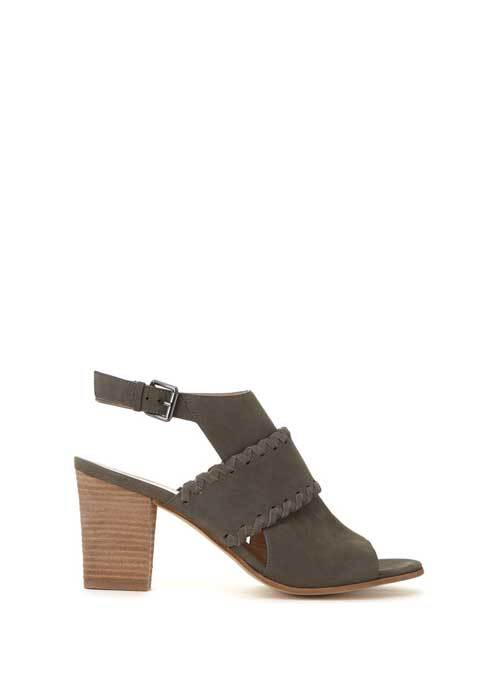 Grey Quinn Shoe Boot - predominant colour: charcoal; occasions: casual, creative work; material: suede; heel height: high; ankle detail: ankle strap; heel: block; toe: open toe/peeptoe; style: standard; finish: plain; pattern: plain; season: s/s 2016