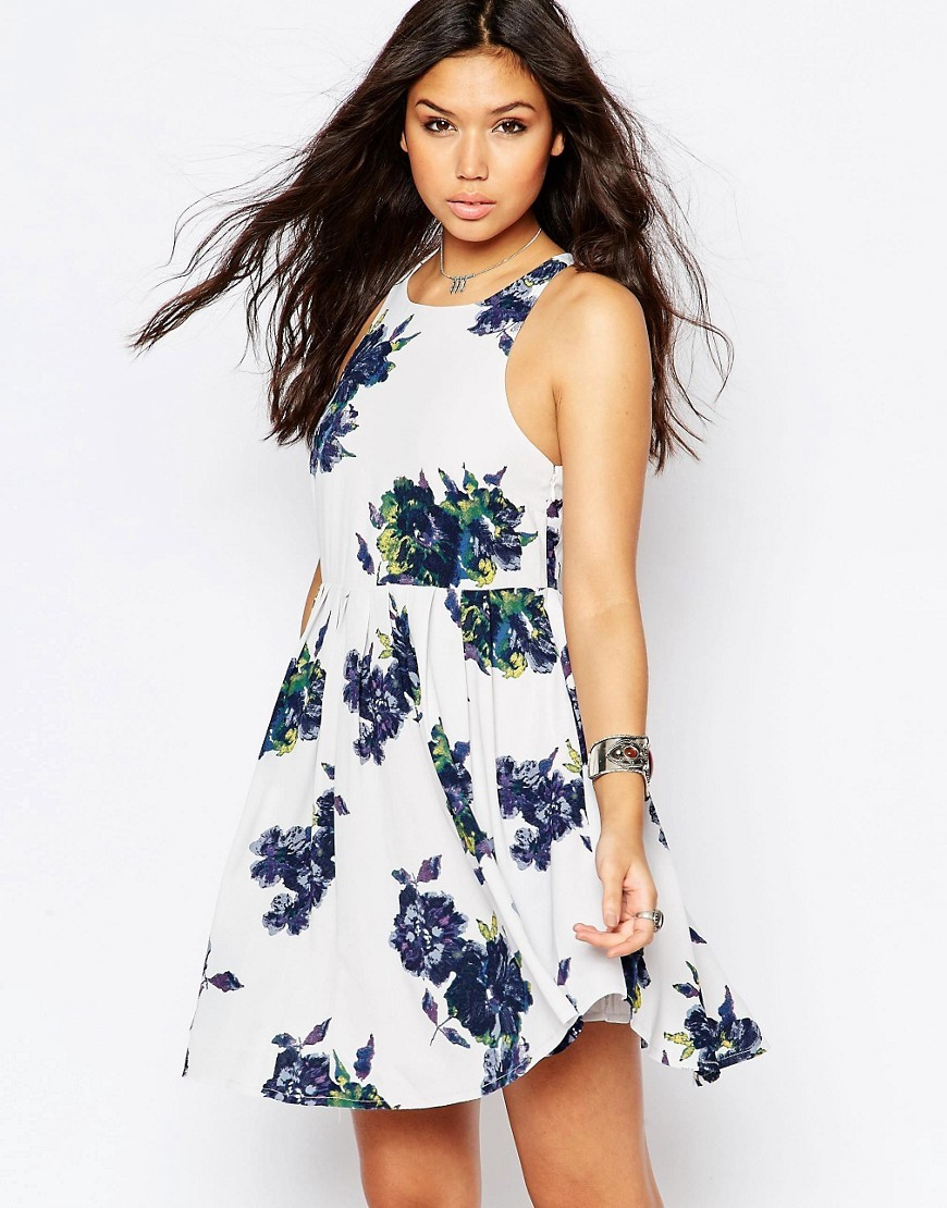Flutterby Floral Dress Cloud Combo - length: mid thigh; sleeve style: sleeveless; predominant colour: white; secondary colour: navy; occasions: casual, holiday; fit: fitted at waist & bust; style: fit & flare; fibres: cotton - mix; neckline: crew; sleeve length: sleeveless; pattern type: fabric; pattern size: big & busy; pattern: florals; texture group: other - light to midweight; season: s/s 2016; wardrobe: highlight