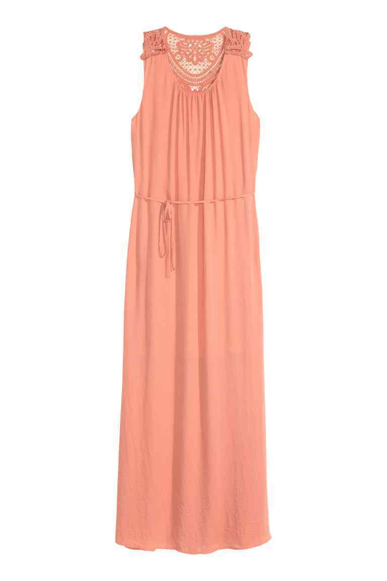 Maxi Dress - pattern: plain; sleeve style: sleeveless; style: maxi dress; length: ankle length; waist detail: belted waist/tie at waist/drawstring; predominant colour: coral; occasions: casual; fit: body skimming; fibres: polyester/polyamide - 100%; neckline: crew; back detail: sheer fabric at back; sleeve length: sleeveless; pattern type: fabric; texture group: other - light to midweight; embellishment: lace; season: s/s 2016