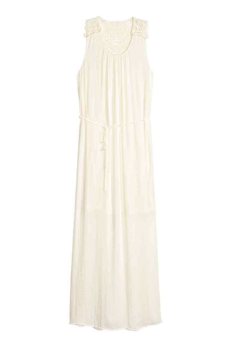 Maxi Dress - neckline: round neck; pattern: plain; sleeve style: sleeveless; style: maxi dress; predominant colour: ivory/cream; occasions: evening; length: floor length; fit: body skimming; fibres: polyester/polyamide - 100%; sleeve length: sleeveless; pattern type: fabric; texture group: other - light to midweight; season: s/s 2016; wardrobe: event
