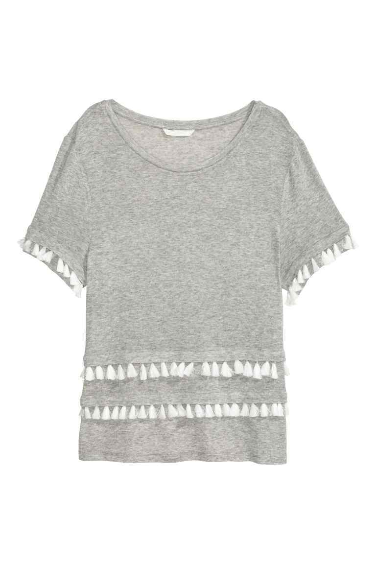 Jersey Top - neckline: round neck; pattern: plain; style: t-shirt; predominant colour: light grey; occasions: casual; length: standard; fibres: polyester/polyamide - mix; fit: body skimming; sleeve length: short sleeve; sleeve style: standard; pattern type: fabric; texture group: jersey - stretchy/drapey; embellishment: lace; season: s/s 2016; wardrobe: highlight