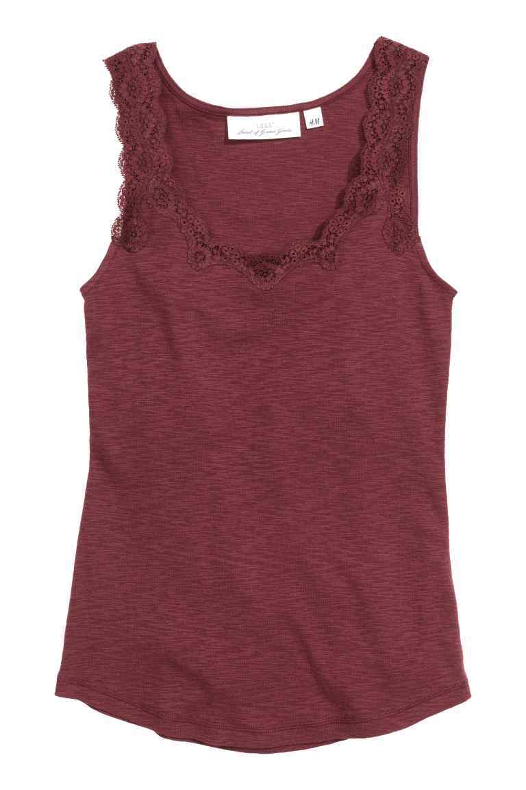 Vest Top With Lace - neckline: round neck; pattern: plain; sleeve style: sleeveless; style: vest top; predominant colour: burgundy; occasions: casual; length: standard; fibres: polyester/polyamide - stretch; fit: body skimming; sleeve length: sleeveless; pattern type: fabric; texture group: jersey - stretchy/drapey; embellishment: lace; season: s/s 2016; wardrobe: highlight