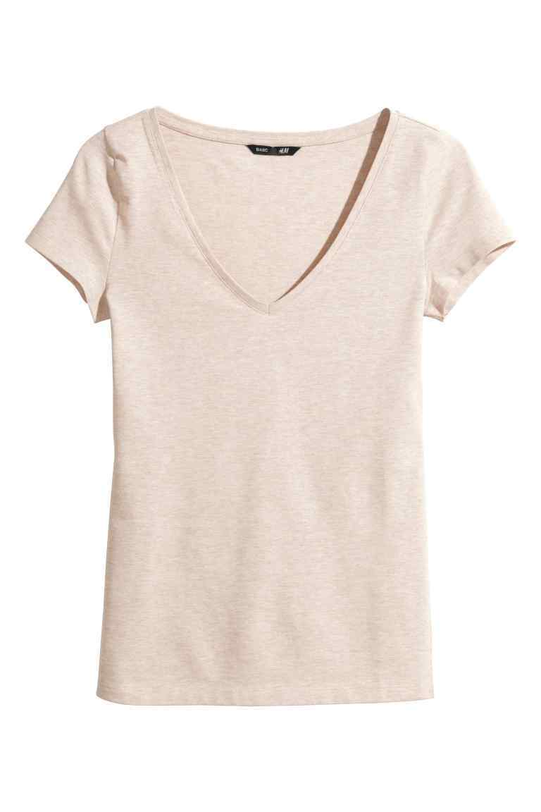 V Neck Jersey Top - neckline: v-neck; pattern: plain; style: t-shirt; predominant colour: blush; occasions: casual; length: standard; fibres: polyester/polyamide - stretch; fit: body skimming; sleeve length: short sleeve; sleeve style: standard; pattern type: fabric; texture group: jersey - stretchy/drapey; season: s/s 2016; wardrobe: basic