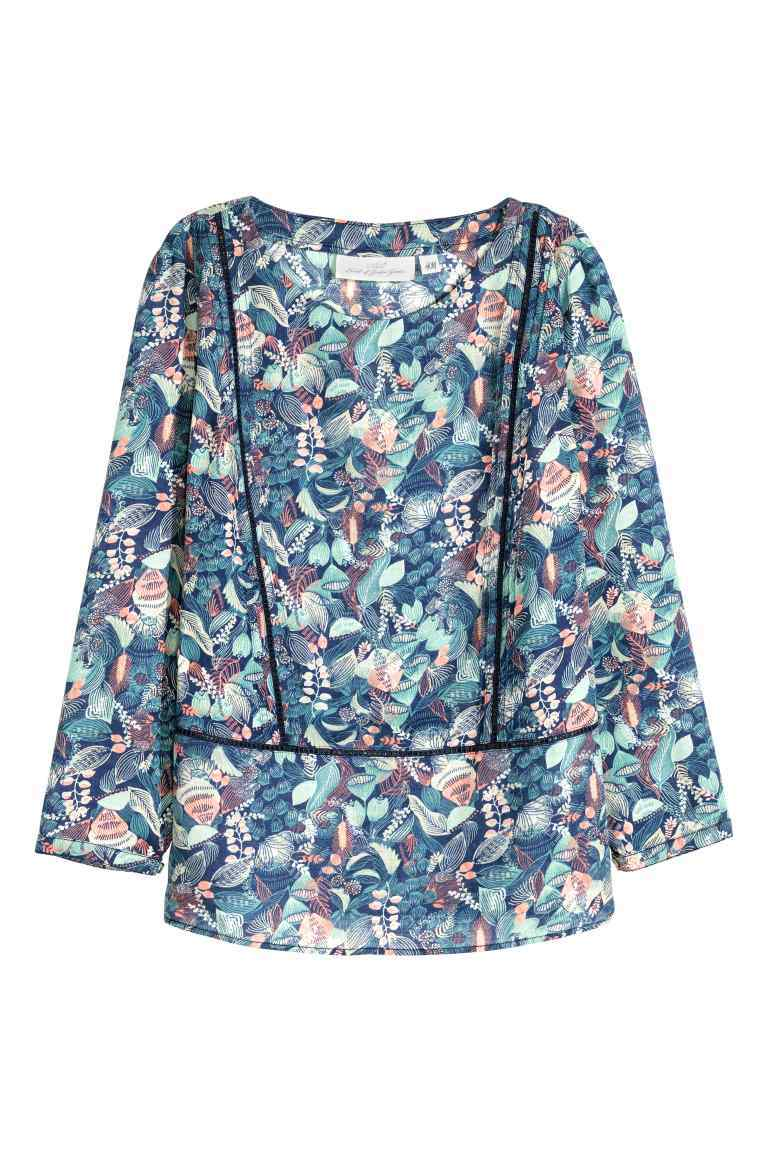 Embroidered Blouse - neckline: round neck; style: blouse; secondary colour: blush; predominant colour: denim; occasions: casual; length: standard; fibres: viscose/rayon - 100%; fit: body skimming; sleeve length: long sleeve; sleeve style: standard; pattern type: fabric; pattern: patterned/print; texture group: woven light midweight; multicoloured: multicoloured; season: s/s 2016; wardrobe: highlight