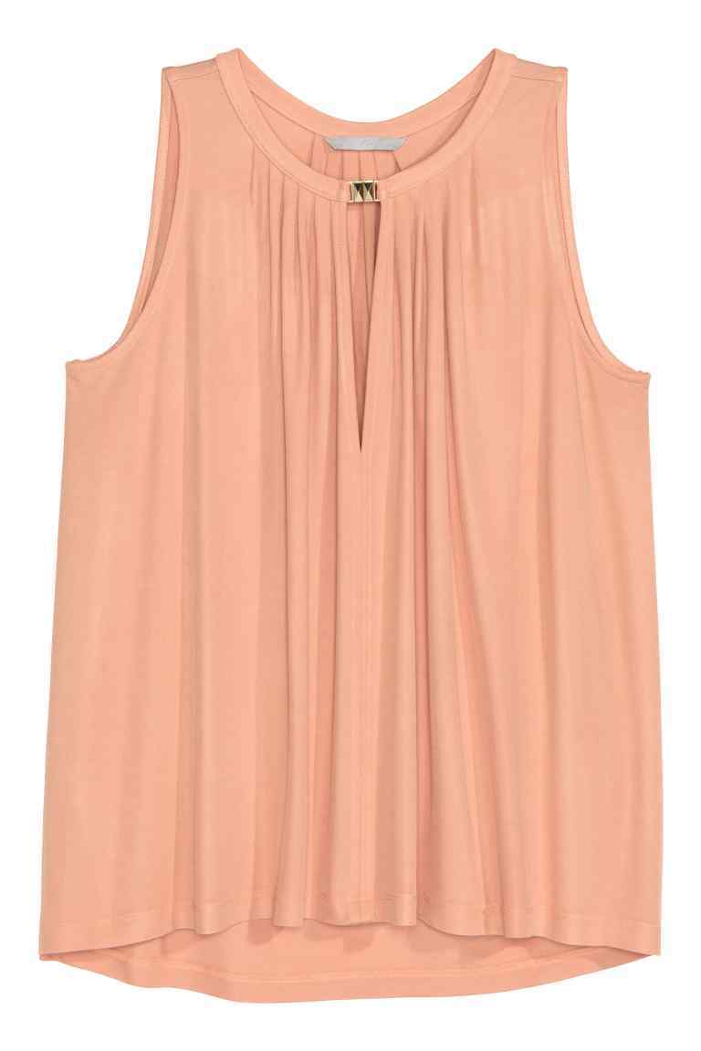 Sleeveless Jersey Top - pattern: plain; sleeve style: sleeveless; predominant colour: nude; occasions: casual; length: standard; style: top; neckline: peep hole neckline; fibres: viscose/rayon - 100%; fit: body skimming; sleeve length: sleeveless; pattern type: fabric; texture group: jersey - stretchy/drapey; season: s/s 2016; wardrobe: basic