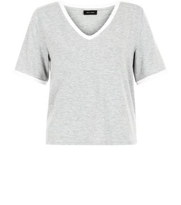 Grey Contrast Trim V Neck T Shirt - neckline: v-neck; style: t-shirt; secondary colour: white; predominant colour: light grey; occasions: casual; length: standard; fibres: cotton - stretch; fit: straight cut; sleeve length: short sleeve; sleeve style: standard; pattern type: fabric; pattern size: standard; pattern: colourblock; texture group: jersey - stretchy/drapey; season: s/s 2016; wardrobe: highlight