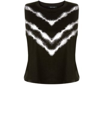 Black Chevron Tie Dye Crop Top - sleeve style: sleeveless; length: cropped; secondary colour: white; predominant colour: black; occasions: casual; style: top; fibres: cotton - mix; fit: body skimming; neckline: crew; sleeve length: sleeveless; pattern type: fabric; pattern: patterned/print; texture group: jersey - stretchy/drapey; multicoloured: multicoloured; season: s/s 2016; wardrobe: highlight