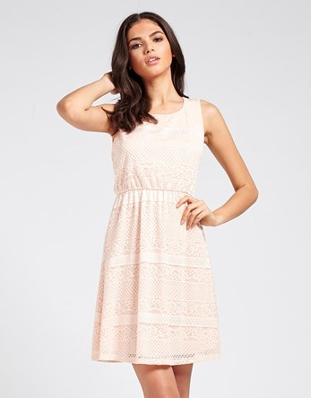 Mela Mixed Lace Skater Dress - length: mid thigh; neckline: round neck; sleeve style: sleeveless; predominant colour: blush; occasions: casual, holiday; fit: fitted at waist & bust; style: fit & flare; fibres: polyester/polyamide - stretch; sleeve length: sleeveless; texture group: lace; pattern type: fabric; pattern size: standard; pattern: patterned/print; embellishment: lace; season: s/s 2016