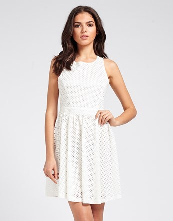 Mela Lace Skater Dress - length: mid thigh; sleeve style: sleeveless; predominant colour: white; occasions: casual, creative work; fit: fitted at waist & bust; style: fit & flare; fibres: polyester/polyamide - 100%; neckline: crew; hip detail: subtle/flattering hip detail; waist detail: feature waist detail; sleeve length: sleeveless; texture group: lace; pattern type: fabric; pattern size: standard; pattern: patterned/print; season: s/s 2016; wardrobe: highlight