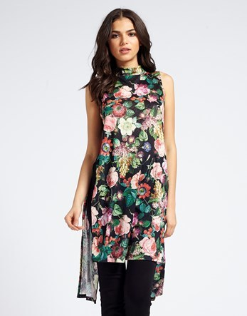 Mela Floral High Cut Long Tunic - sleeve style: sleeveless; secondary colour: emerald green; predominant colour: black; occasions: casual, creative work; style: top; fibres: polyester/polyamide - 100%; fit: loose; neckline: crew; length: mid thigh; sleeve length: sleeveless; texture group: sheer fabrics/chiffon/organza etc.; pattern type: fabric; pattern size: light/subtle; pattern: florals; multicoloured: multicoloured; season: s/s 2016