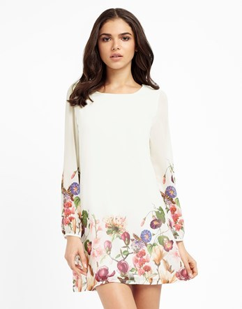 Botanical Floral Print Tunic Dress - style: tunic; length: mid thigh; neckline: round neck; secondary colour: white; predominant colour: ivory/cream; fit: soft a-line; fibres: polyester/polyamide - 100%; occasions: occasion; sleeve length: long sleeve; sleeve style: standard; pattern type: fabric; pattern size: standard; pattern: florals; texture group: other - light to midweight; multicoloured: multicoloured; season: s/s 2016; wardrobe: event