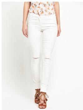 Slash Knee Super Soft Skinny Jean - style: skinny leg; length: standard; pattern: plain; pocket detail: traditional 5 pocket; waist: mid/regular rise; predominant colour: white; occasions: casual; fibres: cotton - stretch; texture group: denim; pattern type: fabric; jeans detail: rips; season: s/s 2016; wardrobe: highlight