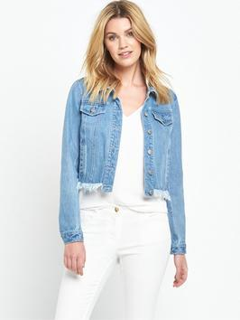 Frayed Hem Denim Jacket - pattern: plain; style: denim; fit: slim fit; predominant colour: denim; occasions: casual; length: standard; fibres: cotton - stretch; collar: shirt collar/peter pan/zip with opening; sleeve length: long sleeve; sleeve style: standard; texture group: denim; collar break: high/illusion of break when open; pattern type: fabric; embellishment: fringing; season: s/s 2016; wardrobe: highlight; embellishment location: hip