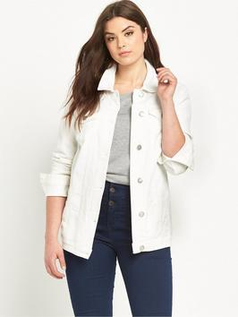 Denim Jacket 14 - pattern: plain; style: denim; fit: slim fit; predominant colour: white; occasions: casual; length: standard; fibres: cotton - stretch; collar: shirt collar/peter pan/zip with opening; sleeve length: long sleeve; sleeve style: standard; texture group: denim; collar break: high/illusion of break when open; pattern type: fabric; season: s/s 2016