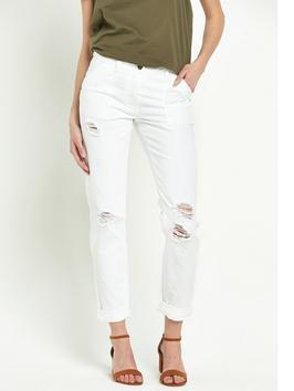 Ripped Utility Trouser - style: skinny leg; pattern: plain; waist: mid/regular rise; predominant colour: white; occasions: casual; length: ankle length; fibres: cotton - stretch; texture group: denim; pattern type: fabric; jeans detail: rips; season: s/s 2016; wardrobe: highlight