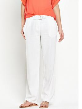 Linen Mix Trouser - length: standard; pattern: plain; waist detail: belted waist/tie at waist/drawstring; waist: mid/regular rise; predominant colour: white; occasions: casual, creative work; fibres: linen - mix; texture group: linen; fit: baggy; pattern type: fabric; style: standard; season: s/s 2016; wardrobe: basic