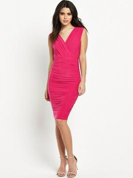 Fuchsia Ruched Dress - style: faux wrap/wrap; neckline: low v-neck; fit: tight; pattern: plain; sleeve style: sleeveless; hip detail: fitted at hip; bust detail: ruching/gathering/draping/layers/pintuck pleats at bust; predominant colour: hot pink; occasions: evening; length: on the knee; fibres: polyester/polyamide - stretch; sleeve length: sleeveless; texture group: jersey - clingy; pattern type: fabric; season: s/s 2016; wardrobe: event