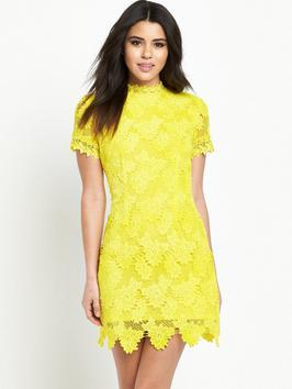 Yellow Lace Dress - length: mid thigh; fit: tight; neckline: high neck; style: bodycon; predominant colour: yellow; occasions: evening; fibres: polyester/polyamide - 100%; sleeve length: short sleeve; sleeve style: standard; texture group: lace; pattern type: fabric; pattern size: standard; pattern: patterned/print; season: s/s 2016; wardrobe: event
