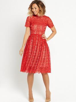 Guipure Prom Dress - length: below the knee; style: prom dress; predominant colour: true red; secondary colour: nude; occasions: evening; fit: fitted at waist & bust; fibres: polyester/polyamide - 100%; neckline: crew; sleeve length: short sleeve; sleeve style: standard; texture group: lace; pattern type: fabric; pattern size: standard; pattern: patterned/print; season: s/s 2016; wardrobe: event