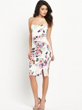 Print Sweetheart Bandeau Dress - style: shift; length: below the knee; neckline: strapless (straight/sweetheart); fit: tailored/fitted; sleeve style: strapless; hip detail: draws attention to hips; predominant colour: ivory/cream; secondary colour: purple; fibres: polyester/polyamide - stretch; occasions: occasion; sleeve length: sleeveless; pattern type: fabric; pattern size: standard; pattern: florals; texture group: woven bulky/heavy; multicoloured: multicoloured; season: s/s 2016; wardrobe: event