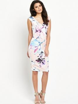 Bodycon Dress - style: shift; neckline: v-neck; fit: tailored/fitted; sleeve style: sleeveless; predominant colour: white; secondary colour: blush; occasions: evening, occasion; length: on the knee; fibres: polyester/polyamide - 100%; sleeve length: sleeveless; pattern type: fabric; pattern size: big & busy; pattern: florals; texture group: other - light to midweight; season: s/s 2016; wardrobe: event