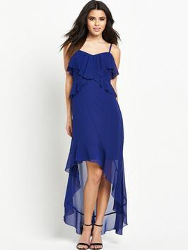 Ruffle Cami Hi Lo Maxi Dress - neckline: v-neck; sleeve style: spaghetti straps; pattern: plain; bust detail: subtle bust detail; predominant colour: royal blue; occasions: evening; length: just above the knee; fit: body skimming; style: asymmetric (hem); fibres: polyester/polyamide - 100%; sleeve length: sleeveless; texture group: sheer fabrics/chiffon/organza etc.; pattern type: fabric; season: s/s 2016; wardrobe: event
