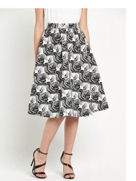 Jacquard Full Midi Skirt - length: below the knee; style: full/prom skirt; fit: loose/voluminous; waist: high rise; secondary colour: white; predominant colour: black; fibres: polyester/polyamide - 100%; occasions: occasion, creative work; hip detail: adds bulk at the hips; pattern type: fabric; pattern: patterned/print; texture group: brocade/jacquard; pattern size: big & busy (bottom); season: s/s 2016; wardrobe: highlight