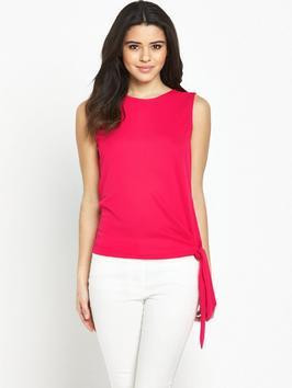 Knot Front Top - pattern: plain; sleeve style: sleeveless; predominant colour: hot pink; occasions: casual, work, creative work; length: standard; style: top; fibres: polyester/polyamide - 100%; fit: body skimming; neckline: crew; sleeve length: sleeveless; pattern type: fabric; texture group: other - light to midweight; season: s/s 2016