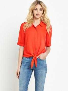 Knot Front Blouse - neckline: shirt collar/peter pan/zip with opening; pattern: plain; style: blouse; predominant colour: bright orange; occasions: casual, work, creative work; length: standard; fibres: polyester/polyamide - 100%; fit: loose; sleeve length: short sleeve; sleeve style: standard; pattern type: fabric; texture group: other - light to midweight; season: s/s 2016