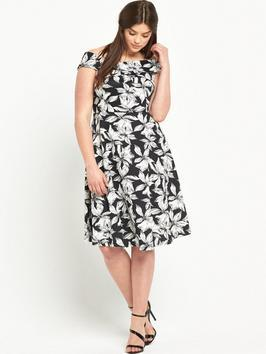 Print Scuba Prom Dress - neckline: off the shoulder; sleeve style: capped; style: prom dress; secondary colour: white; predominant colour: black; occasions: evening; length: on the knee; fit: fitted at waist & bust; fibres: polyester/polyamide - 100%; sleeve length: short sleeve; trends: monochrome; pattern type: fabric; pattern: florals; texture group: jersey - stretchy/drapey; multicoloured: multicoloured; season: s/s 2016; wardrobe: event