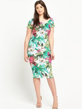 Print Scuba Bodycon Dress - length: below the knee; fit: tight; style: bodycon; secondary colour: white; predominant colour: mint green; occasions: evening; fibres: polyester/polyamide - stretch; sleeve length: short sleeve; sleeve style: standard; texture group: jersey - clingy; neckline: medium square neck; pattern type: fabric; pattern: florals; multicoloured: multicoloured; season: s/s 2016; wardrobe: event