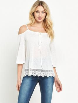 Cold Shoulder Crochet Lace Top - neckline: off the shoulder; pattern: plain; predominant colour: ivory/cream; occasions: casual; length: standard; style: top; fibres: polyester/polyamide - mix; fit: body skimming; sleeve length: 3/4 length; sleeve style: standard; texture group: knits/crochet; pattern type: knitted - other; season: s/s 2016; trends: riviera chic