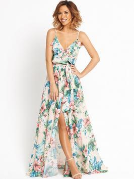Ruffle Front Floral Maxi Dress - neckline: low v-neck; sleeve style: spaghetti straps; fit: fitted at waist; style: maxi dress; waist detail: fitted waist; predominant colour: ivory/cream; secondary colour: dark green; length: floor length; fibres: polyester/polyamide - 100%; occasions: occasion; sleeve length: sleeveless; pattern type: fabric; pattern size: standard; pattern: florals; texture group: other - light to midweight; multicoloured: multicoloured; season: s/s 2016; wardrobe: event