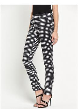 Gingham Skinny Trouser - length: standard; pattern: checked/gingham; waist: high rise; predominant colour: black; occasions: casual, creative work; fibres: cotton - stretch; trends: monochrome; fit: skinny/tight leg; pattern type: fabric; texture group: woven light midweight; style: standard; pattern size: big & busy (bottom); season: s/s 2016; wardrobe: highlight