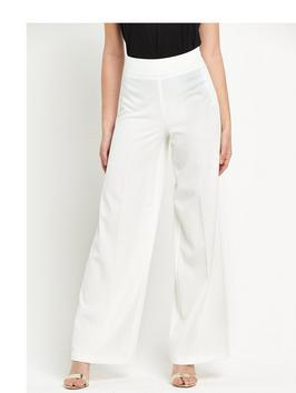 Co Ord Wide Leg Trouser - length: standard; pattern: plain; waist: high rise; predominant colour: white; fibres: polyester/polyamide - stretch; occasions: occasion, creative work; fit: wide leg; pattern type: fabric; texture group: other - light to midweight; style: standard; season: s/s 2016; wardrobe: basic