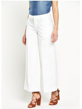 High Waist Cropped Wide Leg Jean - length: standard; pattern: plain; waist: high rise; pocket detail: traditional 5 pocket; style: wide leg; predominant colour: white; occasions: casual, creative work; fibres: cotton - 100%; texture group: denim; pattern type: fabric; season: s/s 2016; wardrobe: highlight
