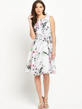 Tula Floral Dress - neckline: round neck; sleeve style: sleeveless; waist detail: flattering waist detail; predominant colour: ivory/cream; secondary colour: hot pink; length: on the knee; fit: fitted at waist & bust; style: fit & flare; fibres: polyester/polyamide - 100%; occasions: occasion; sleeve length: sleeveless; pattern type: fabric; pattern size: standard; pattern: patterned/print; texture group: other - light to midweight; multicoloured: multicoloured; season: s/s 2016; wardrobe: event
