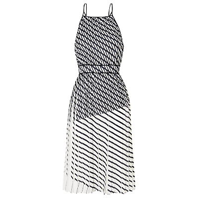 Pleated Print Strappy Dress, Multicolour - length: below the knee; neckline: high square neck; sleeve style: spaghetti straps; back detail: back revealing; predominant colour: white; secondary colour: white; fit: fitted at waist & bust; style: fit & flare; fibres: polyester/polyamide - 100%; hip detail: adds bulk at the hips; waist detail: feature waist detail; sleeve length: sleeveless; trends: monochrome, graphic stripes; pattern type: fabric; pattern: patterned/print; texture group: woven light midweight; occasions: creative work; season: s/s 2016; wardrobe: highlight