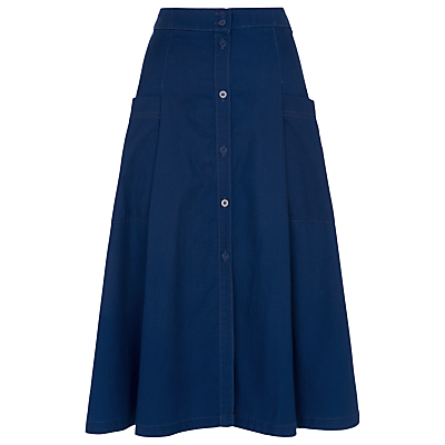 Edin Button Through Skirt - length: below the knee; pattern: plain; fit: loose/voluminous; waist: high rise; predominant colour: royal blue; occasions: casual, creative work; style: a-line; fibres: cotton - 100%; texture group: denim; pattern type: fabric; season: s/s 2016; wardrobe: basic