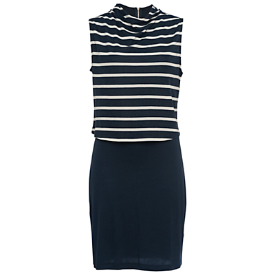 Manhattan Sleeveless Jersey Dress, Multi - style: shift; pattern: horizontal stripes; sleeve style: sleeveless; neckline: high neck; secondary colour: white; predominant colour: navy; occasions: casual; length: just above the knee; fit: body skimming; fibres: cotton - stretch; sleeve length: sleeveless; pattern type: fabric; pattern size: standard; texture group: jersey - stretchy/drapey; season: s/s 2016; wardrobe: basic