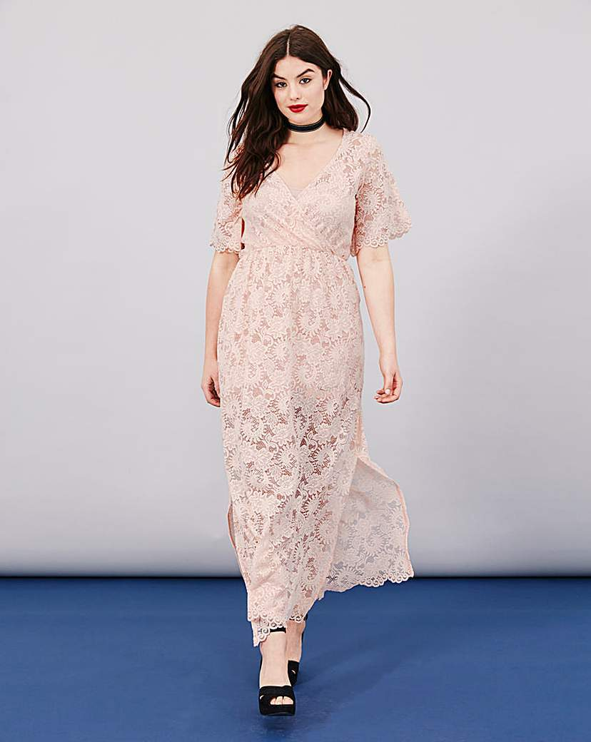 Lace Wrap Maxi Dress - neckline: low v-neck; style: maxi dress; length: ankle length; predominant colour: blush; fit: fitted at waist & bust; fibres: polyester/polyamide - 100%; occasions: occasion; sleeve length: short sleeve; sleeve style: standard; texture group: lace; pattern type: fabric; pattern size: standard; pattern: patterned/print; season: s/s 2016; wardrobe: event