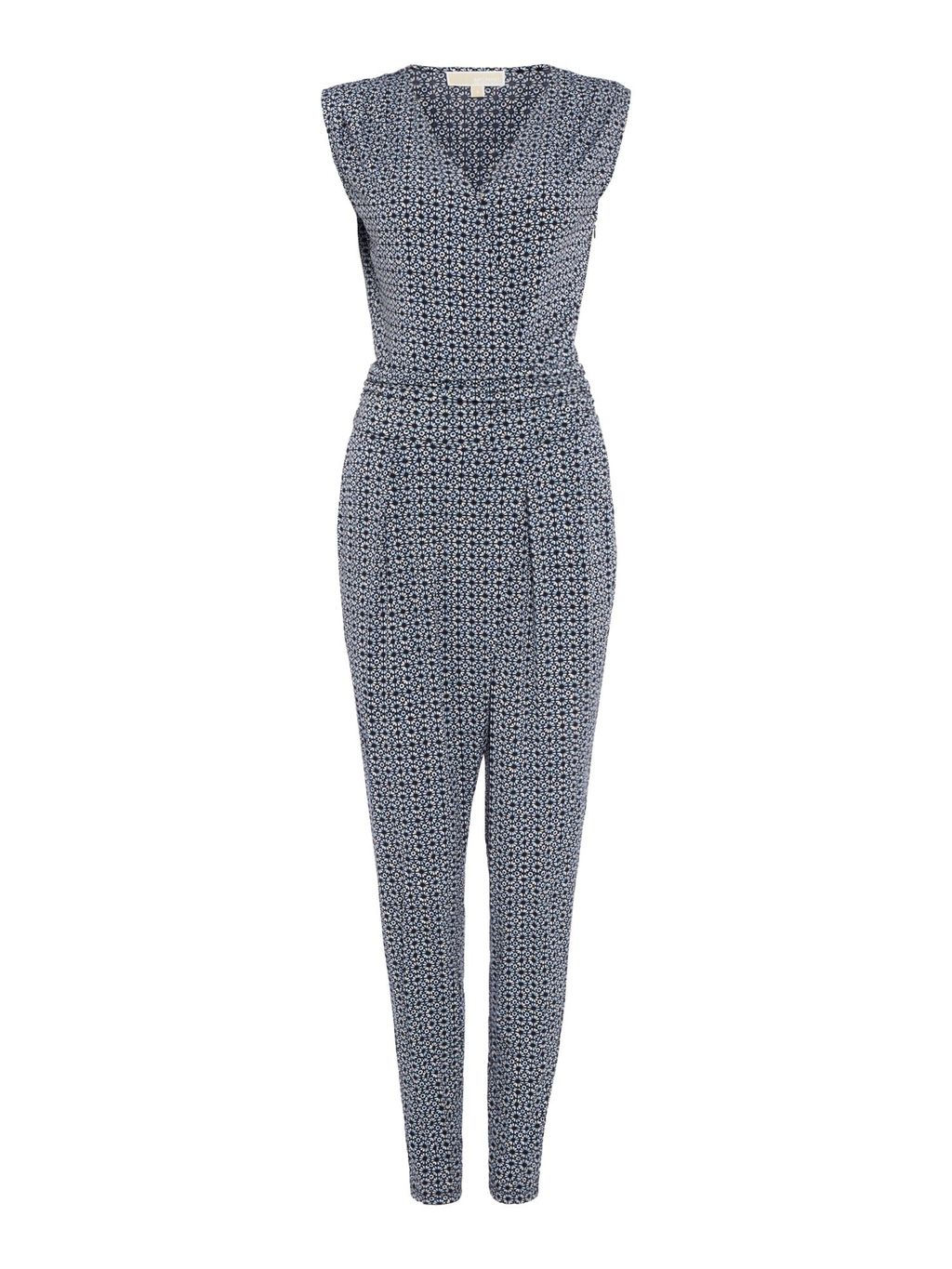 Sleeveless Wrap Jumpsuit, Navy - length: standard; neckline: v-neck; fit: tailored/fitted; sleeve style: sleeveless; predominant colour: navy; occasions: evening; fibres: polyester/polyamide - stretch; sleeve length: sleeveless; texture group: crepes; style: jumpsuit; pattern type: fabric; pattern size: standard; pattern: patterned/print; season: s/s 2016; wardrobe: event