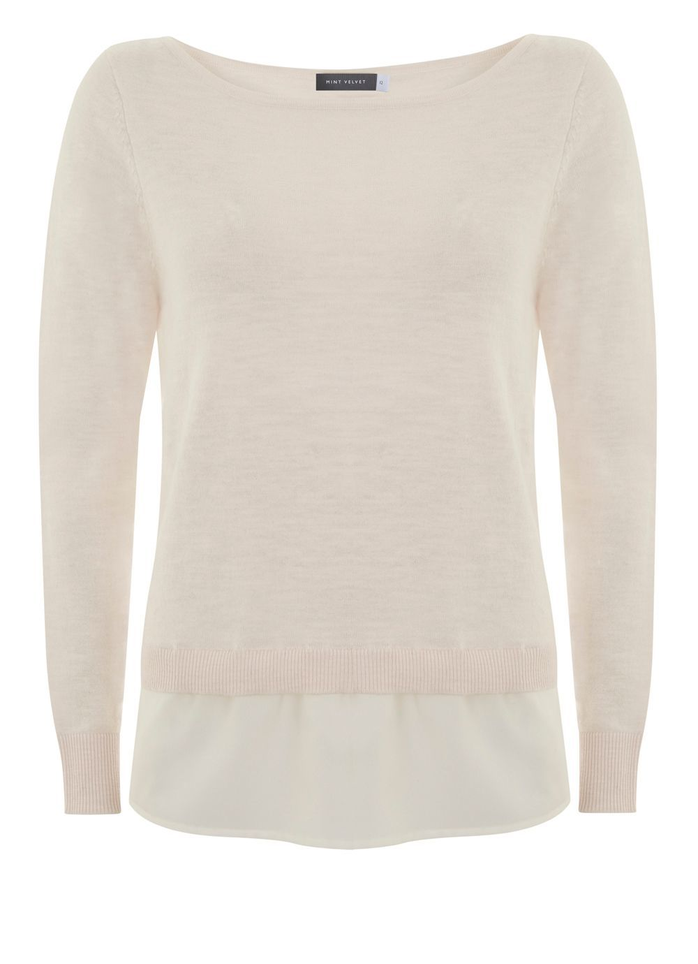 Powder Woven Twist Back Knit, Multi Coloured - neckline: slash/boat neckline; pattern: plain; length: below the bottom; style: standard; predominant colour: ivory/cream; occasions: casual, creative work; fibres: polyester/polyamide - 100%; fit: standard fit; sleeve length: long sleeve; sleeve style: standard; texture group: knits/crochet; pattern type: knitted - fine stitch; season: s/s 2016; wardrobe: basic