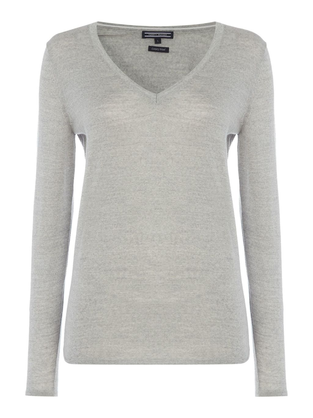 Guvera V Neck Sweater, Light Grey - neckline: v-neck; pattern: plain; style: standard; predominant colour: light grey; occasions: casual, work, creative work; length: standard; fibres: fur - 100%; fit: standard fit; sleeve length: long sleeve; sleeve style: standard; texture group: knits/crochet; pattern type: knitted - fine stitch; season: s/s 2016; wardrobe: basic